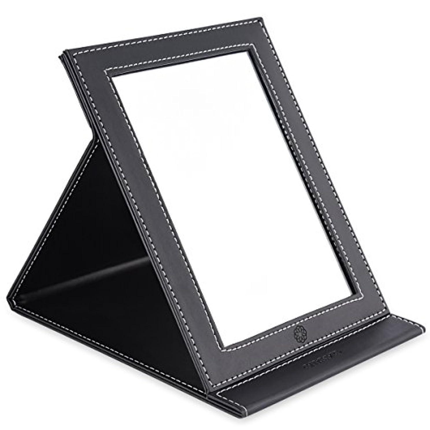 チーズちらつき準備するamoore 化粧鏡 卓上スタンドミラー 折りたたみミラー PUレザー (ブラック)
