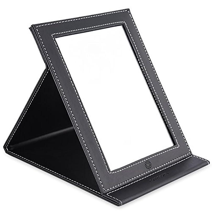 正しいロバ拒否amoore 化粧鏡 卓上スタンドミラー 折りたたみミラー PUレザー (ブラック)