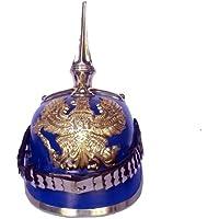 Queen Brass Prussianレザーヘルメット – German Officer Pickelhaube ND標準ブルー