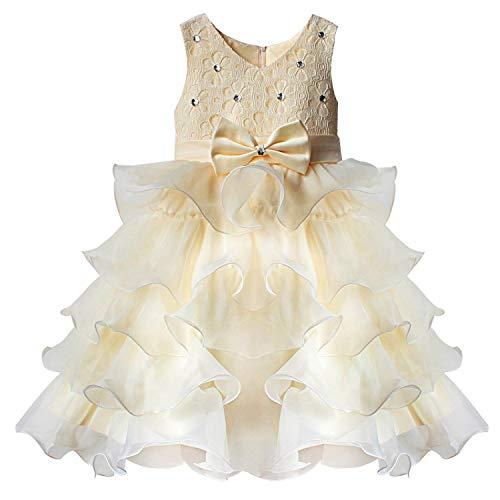 Forpend 子供ドレス FP-0039 パーティー ピアノ 女の子 フォーマルドレス 結婚式 入園式 発表会 演奏会 ワンピース キッズドレス White Pink Beige RoseRed