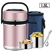 ステンレスフードジャー 3層 ブル- 保温弁当箱 スープジャー 真空断熱フードコンテナー ランチボックス 持ち運びが簡単 ランチバッグ スプーン,Pink
