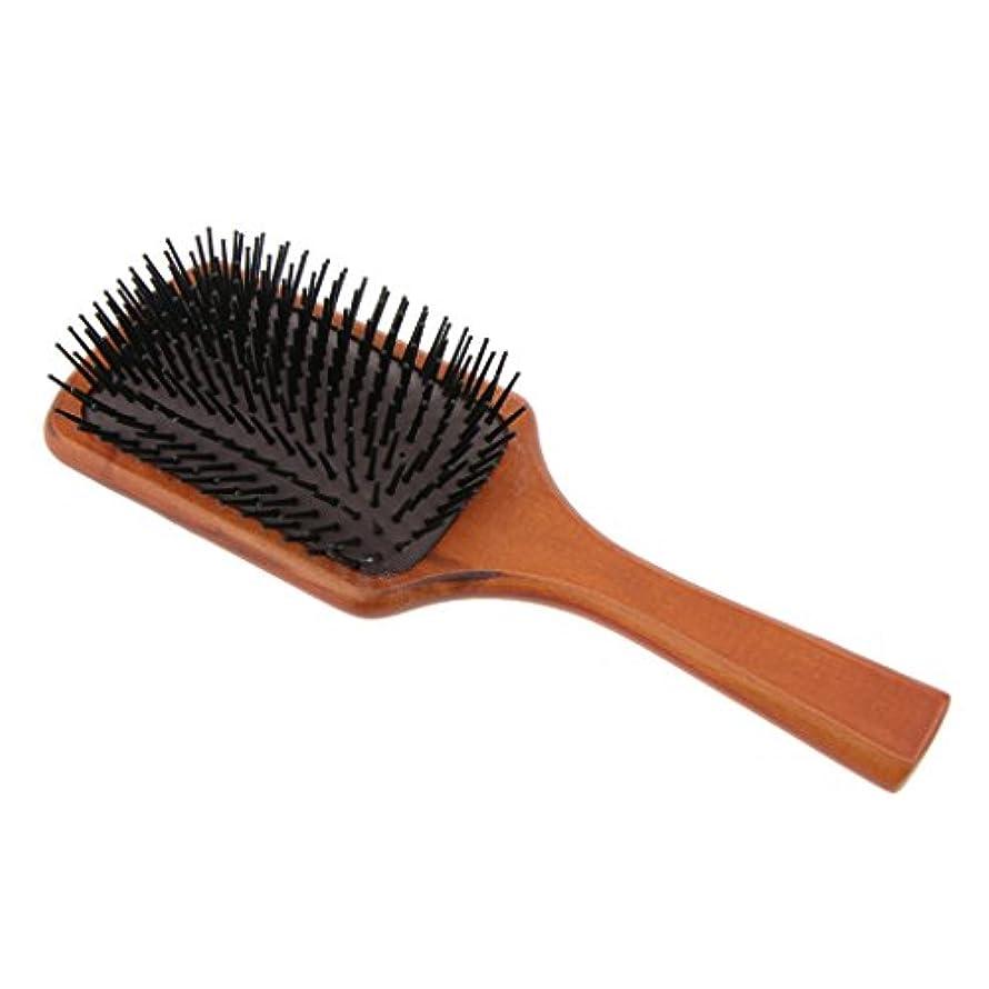 霧リブ破産木製櫛 ヘアコーム ヘアブラシ 頭皮マッサージ 帯電防止