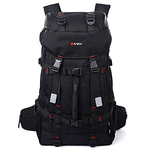 WOLFOUTDOOR アウトドア 登山用バッグ 45L オックスフォード ブラック 通気性 抜群 登山 旅行バッグ