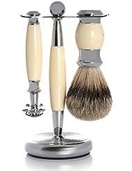 GOLDDACHS Shaving Set, Safety razor, Finest Badger, white/silver