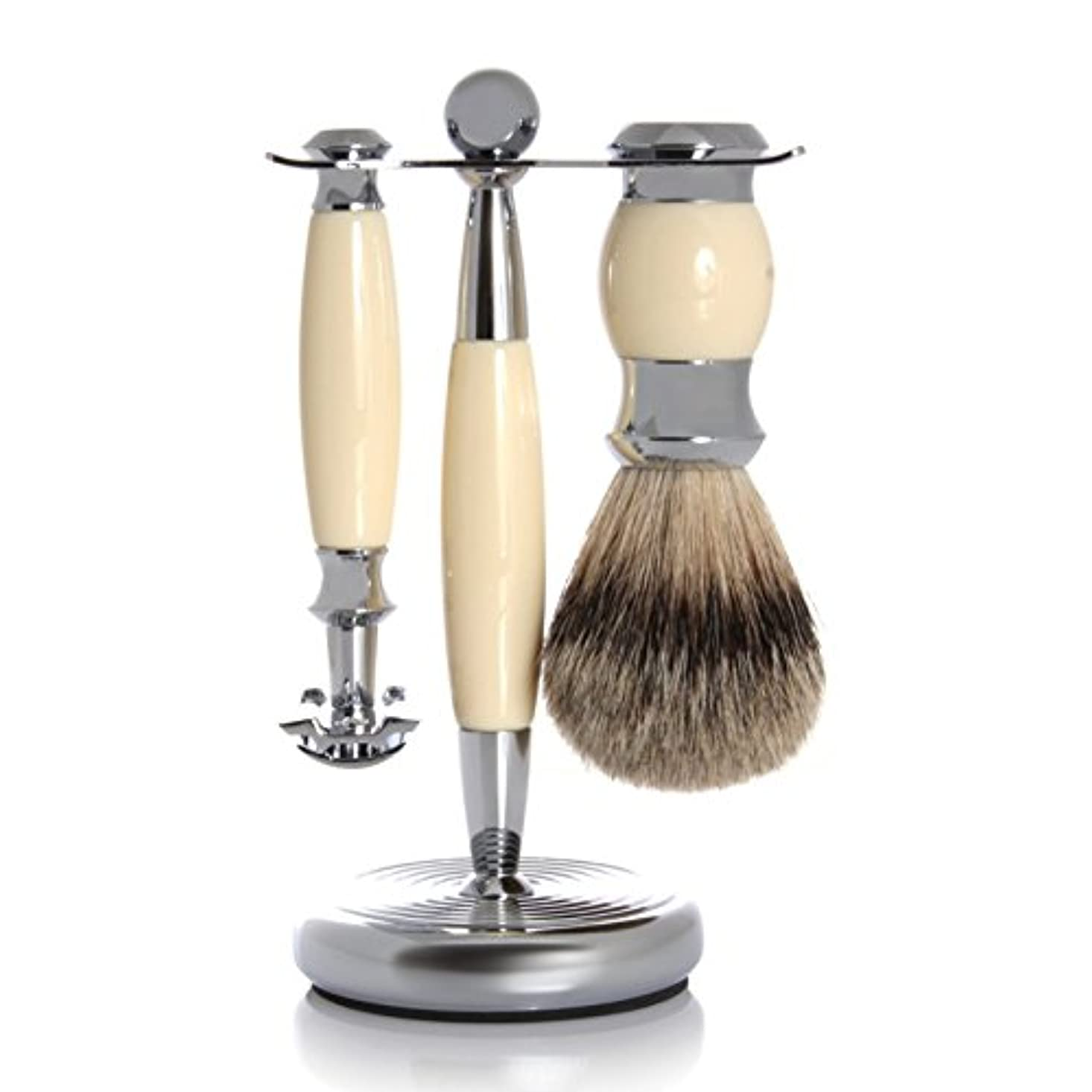 ウェーハアニメーション郵便物GOLDDACHS Shaving Set, Safety razor, Finest Badger, white/silver