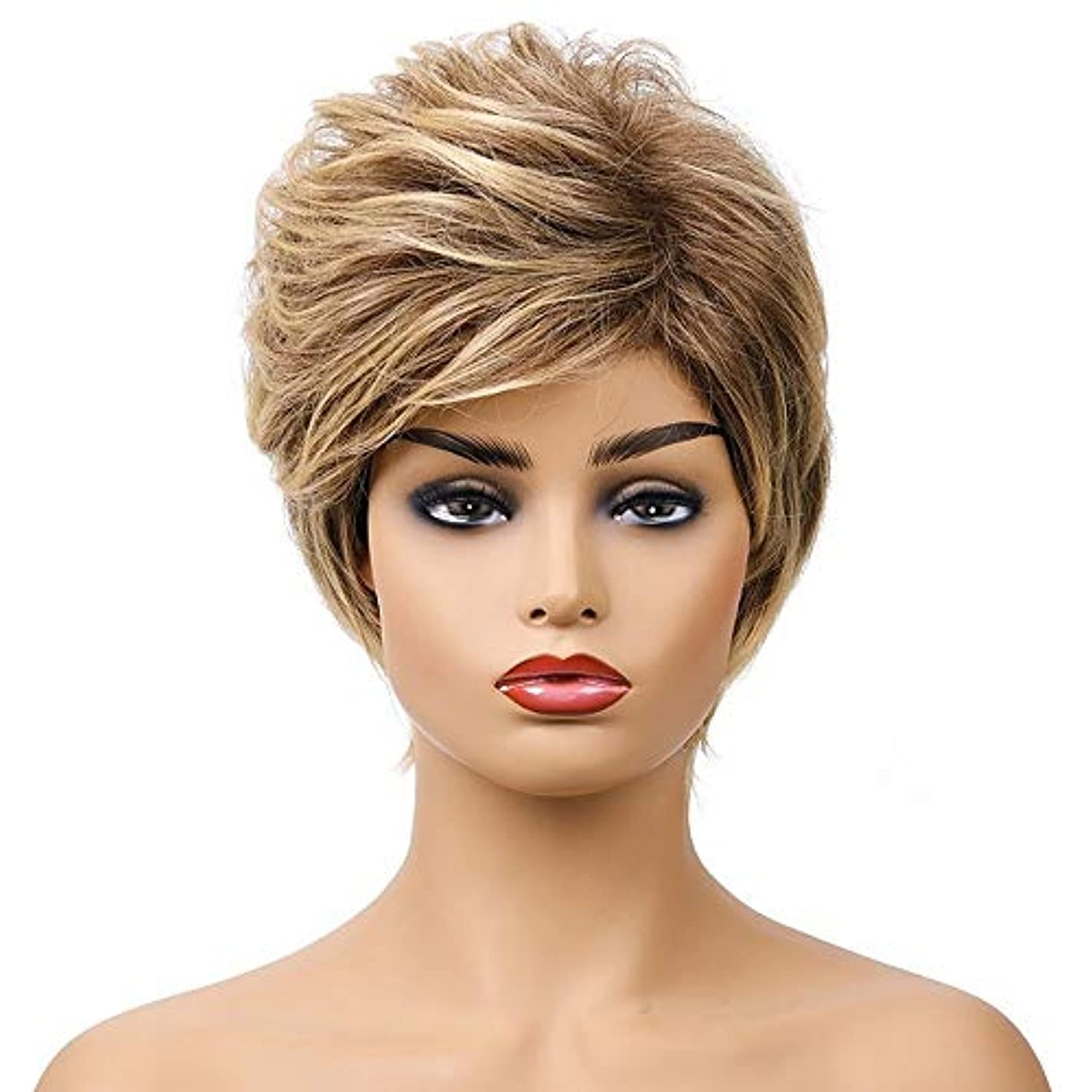 女王証明するけがをする女性の短い茶色の巻き毛のかつら、女性の側部のかつら、黒人女性のための自然なかつら、合成衣装ハロウィンコスプレパーティーウィッグ、茶色の黄色の混合色(ウィッグキャップ付き)