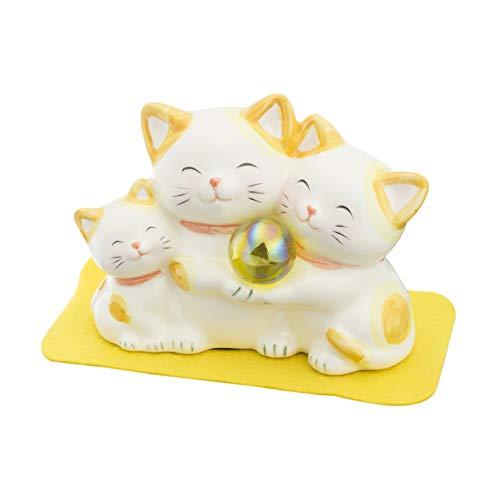サンアート 開運雑貨 「 金運上昇 」 ハッピーキャット親子 猫の置物オブジェ イエロー SAN1224