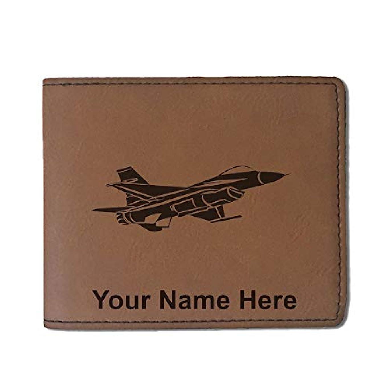 インチ醸造所学部フェイクレザー財布 – F - 16 Fighter Jet – カスタマイズ彫刻Included (ダークブラウン)