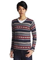 Fair Isle Wool V-neck Sweater 1213-131-0861: Grey