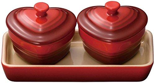 ルクルーゼ ミニチュア ラムカン ダムール セット 耐熱 容器 チェリーレッド 910384-00-06