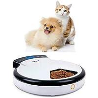 Sremom 自動給餌器 猫 録音猫&犬ごはん用 自動給餌機 犬 ネコなどの5食のペット自動給餌器 録音することができて ユーザーは24時間の自動給餌をカスタマイズして設定することができ 5つの独立するボウル(240ml/ボウル)