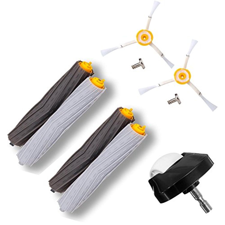 aotengアクセサリfor iRobot Roomba 800 900シリーズ805 860 870 871 880 890 960 980ロボット掃除機2セットExtractors、2サイドブラシ、1フロントホイールキャスター、2ネジ