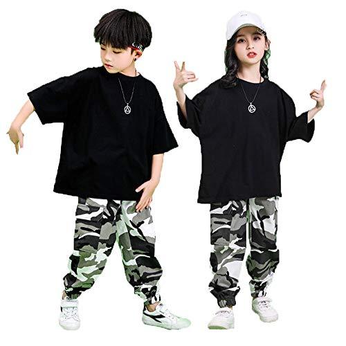 343a4adfd3504 ダンス 衣装 キッズダンス 迷彩 ヒップホップ セットアップ 子供 ダンス衣装 tシャツ+パンツ 上下