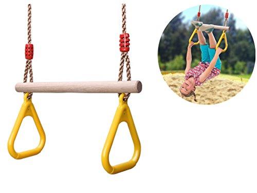 COMINGFIT® 160kgまで荷重 子供遊び 体操吊り輪 ブランコ 木製 どこでも ブランコ