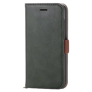 エレコム iPhone8 ケース カバー 手帳型 レザー サイドマグネット スタンド機能付き ICカード iPhone7 対応 モスグリーン PM-A17MPLFYGN