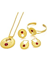 Ethlyn Jewelry 24KGP Ethiopian Habesha Jewelry Sets Eritrean Wedding Party New Arrival Items