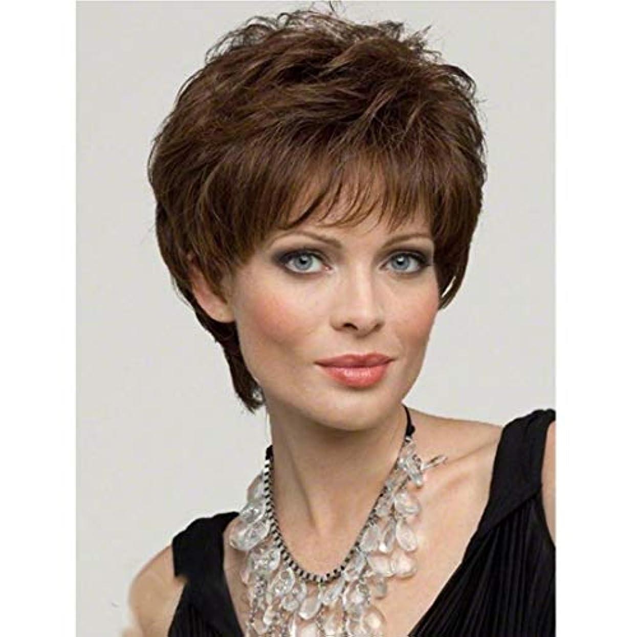 美容師墓奨励しますKerwinner 女性のための茶色のかつら短い巻き毛のかつら合成完全女性のかつら