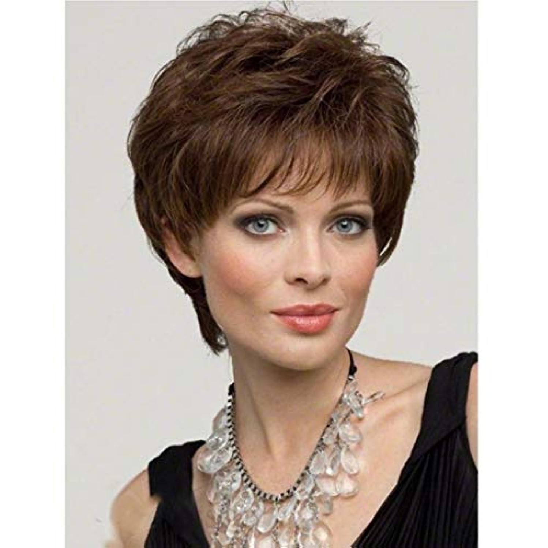 女王かわす南Kerwinner 女性のための茶色のかつら短い巻き毛のかつら合成完全女性のかつら