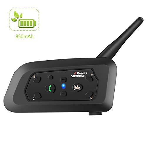 TUANA バイク用インカム 6Riders Bluetooth 増強版850mAhバッテリー 12時間連続通話 音楽聴き IPX5防水 ノイズなし 最大通話距離1200M gps案内 音色ステレオ音質 バイク用品 バイク無線機インカム 2人同時通話 電話応答 V6-1200 日本語取扱説明書付き (1機)