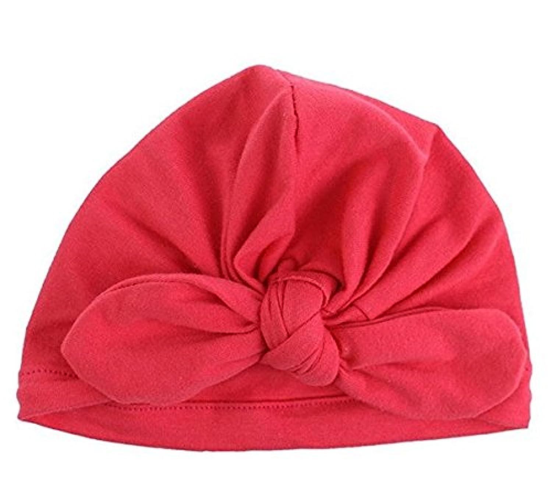 SODIAL 新生児 子供用 人気 スイミング帽子 かわいい ベビー キャップ ハット 結び目 ファッション スリーブ 柔らかい (red)