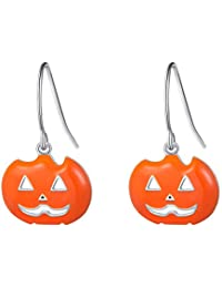 DAOSHANG Spooky Halloween Pumpkin Earrings S925 Sterling Silver Cute Pumpkin Earrings Long Dangle Halloween Party Earrings for Women Girls