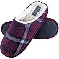 Dunlop - Mens Winter Warm Fleece Lined Slip On Checked Slippers