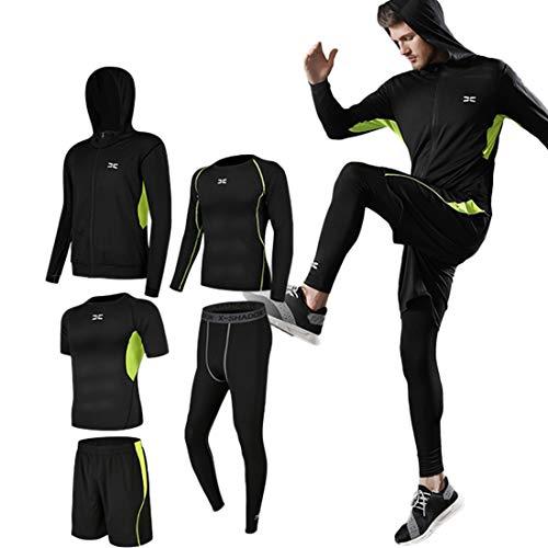 コンプレッションウェア セット メンズ トレーニング スポーツウェア 5点-緑 L