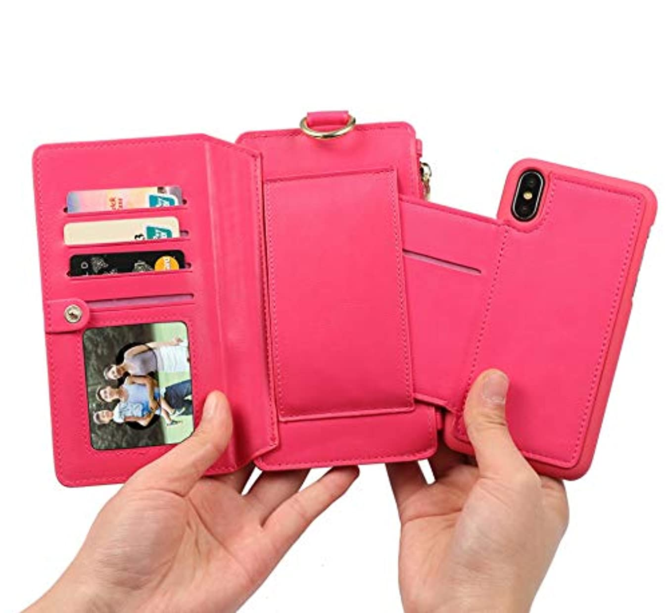 リスキーな構成する選択するiPhone 8 Plus パソコンExit包保護套 - 折りたたみ保護袖 - 立ちブラケット-ビジネススタイル-全身保護-内殻金属リング-12札入れ-相枠-取り外し可能な電話ケース財布 5.5インチiPhone 7 Plus...