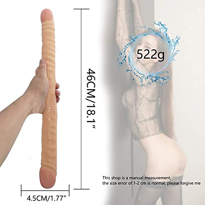 概要儀式負担ペニス 18.1インチ女性用健康材料(肌)の完璧なサイズのダブルエンド頭の女性個人マッサージ杖 マッサージャー
