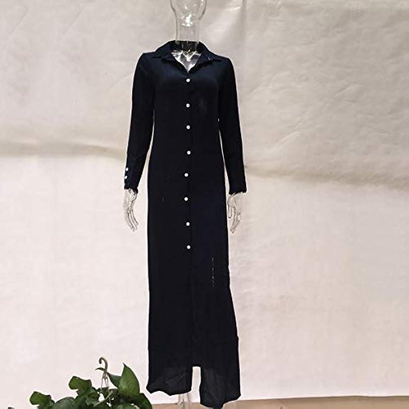 Blackfell 女性用ドレスボタン付き長袖ドレス