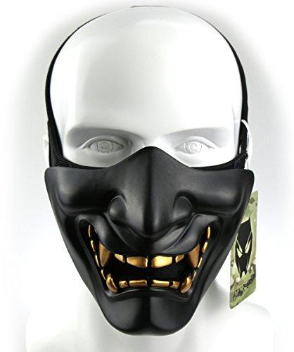 ATAIRSOFT 般若のお面 はんにゃ サバゲー ハーフマスク CS野戦 パーティー 芝居 コスプレグッズ仮面 ミリクリーコンバットグッズ 半面フェイスガード(ブラック)BK