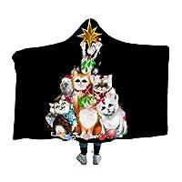 クリスマスツリーの子猫111スーパーソフトウェアラブルフード付きブランケットスローラップ暖かい冬ノベルティブランケット用男性女性
