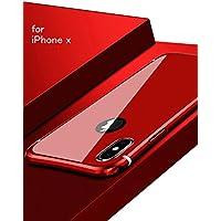 iPhone X メタルバンパー uovon 高品質アルミ製フレーム+バックプレート スクラッチ保護 アイフォンx カバー オシャレデザイン 最高レベル耐衝撃 ケース (iPhone X, レッド)