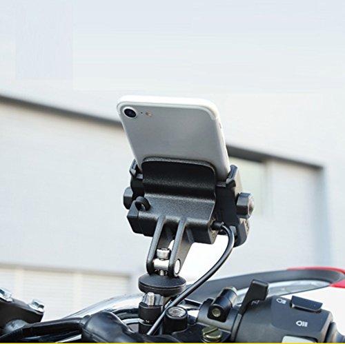 ニコマク NikoMaku バイク 自転車兼用 スマホホルダー USB電源付き 充電可能 固定力抜群 アルミ製 オートバイ ハンドルに取り付け 4~6.6インチ携帯に対応 設置簡単 ブラック