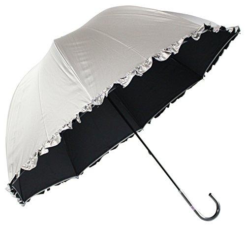 日光を遮断! 晴雨兼用 日傘 かわいいドーム型 生地表シルバ...