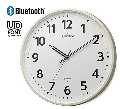 リズム時計工業(Rhythm) 掛け時計 白 Φ35x4.8cm Bluetooth 専用 アプリ で時刻ぴったり 8MYA41SR03