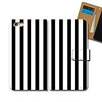 ZenFone 4 Pro ZS551KL ケース 手帳型 シンプル 手帳ケース スマホケース カバー ストライプ 白 黒 ハンドメイド E0295040098304