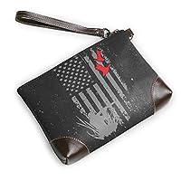 RIRIBOC 小物入れDuck Hunting American Flag フラットポーチ トラベルポーチ バッグインバッグ 本革 レザー 小物 化粧 ブランド 人気 メンズ レディースOne Size