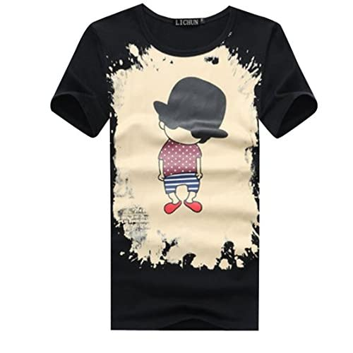【ARINCO】 オシャレ プリント デザイン カジュアル シンプル メンズ 半袖 Tシャツ6タイプ 大きい サイズ M L XL 2XL 3XL 4XL 5XL 6XL (A:ブラック,L)