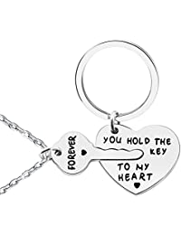 2pcs Couple Key Chain & Necklace Love Heart Key Locks Lover Gift - You hold the key to my heart & Forever
