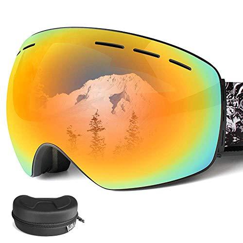 スキーゴーグル スノーゴーグル スノーボードゴーグル フレームレス 広視野 球面ダブルレンズ 曇り止め 偏光 レンズ着脱可能 UV400 紫外線カット メガネ対応 3層スポンジ 通気 防風 防塵 防雪 山登り/スキー 軽量 耐衝撃 男女兼用 ケース付き