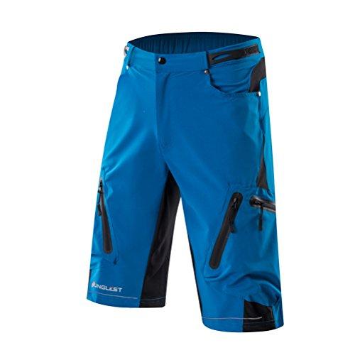 青 濃緑 黒 反射素材使用 登山 サイクルパンツ ゴルフ テニス ジョギングパンツ 散歩 釣りパンツ ルーズフィット バギーショーツ 伸縮通気