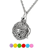 Housweety Aromatherapy Essential Oil Diffuser Necklace - Locket Pendant,6 Refill Pads Anti-Silver