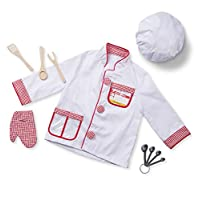 Melissa & Doug 96021 Chef Role Play Costume Dress -Up Set With Realistic Accessories Frustration-Free Packaging, Multicolor