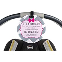Girl Preemie sign newborn baby car seat tag baby shower gift stroller tag baby Preemie no touching car seat sign