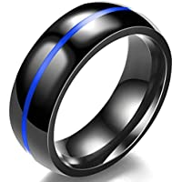 Jude Jewelers 8MM Classical Black Stainless Steel Ring Plain Wedding Band