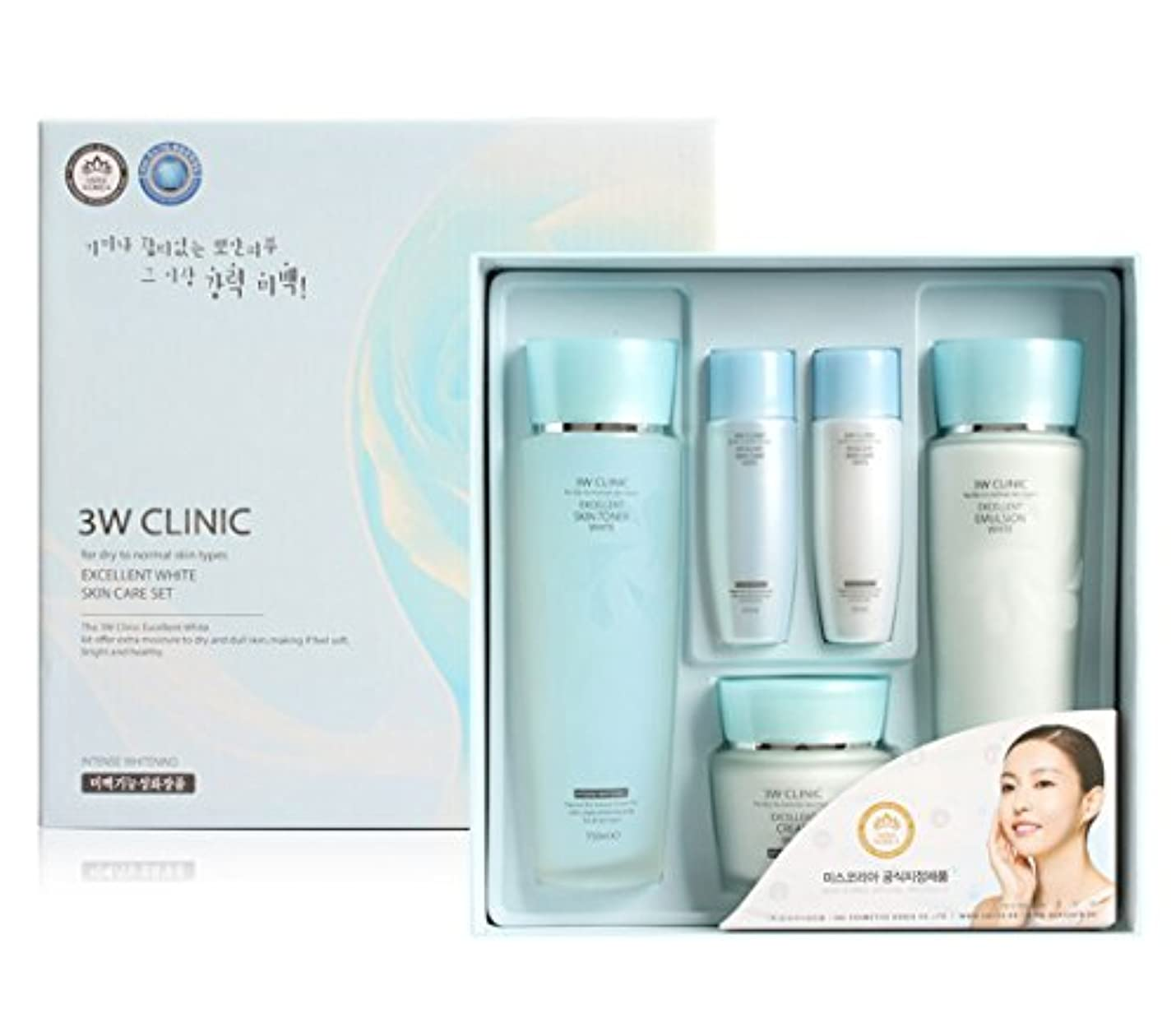 子猫決めます牧草地3Wクリニック[韓国コスメ3w Clinic]Excellent White Skin Care set エクセレントホワイトスキンケア3セット,樹液,乳液,クリーム [並行輸入品]