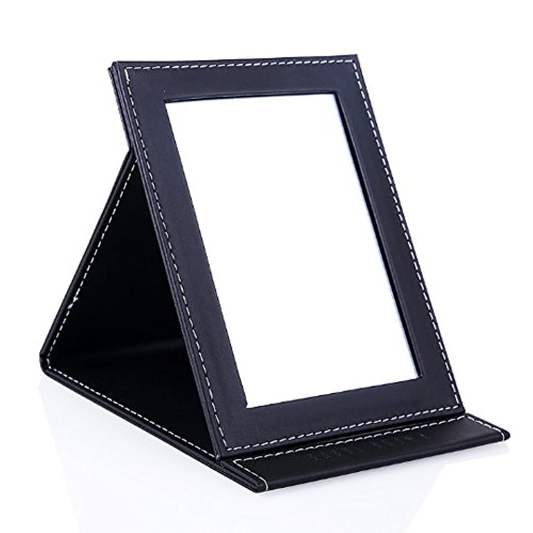 脈拍継続中助けになるSincerestore 折立ミラー スタンドミラー 化粧鏡 折りたたみミラー レザー 鏡 ブラック角度調整 高品質 (S、17*11cm)