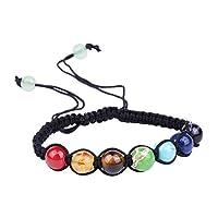 HooAMI チャクラ 7色 パワーストーン ブレスレット 手織り 腕輪念珠 ヨーガブレスレット レディース メンズ サイズ調整可能 16cm-26cm