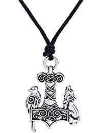 Norse Odin Raven Thors Hammer Mjolnir Viking Wolf Crow Pendant Necklace Amulet